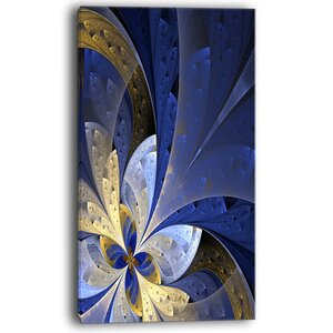 Blue and Yellow Large Fractal Pattern Graphic Art on Wrapped Canvas by Design Art