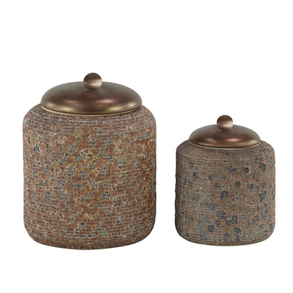 Rustic Textured Stoneware 2 Piece Storage Jar Set by World Menagerie