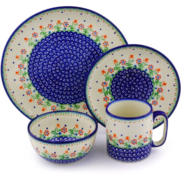 Spring Flowers Polish Pottery 4 Piece Place Setting, Service for 1 by Polmedia