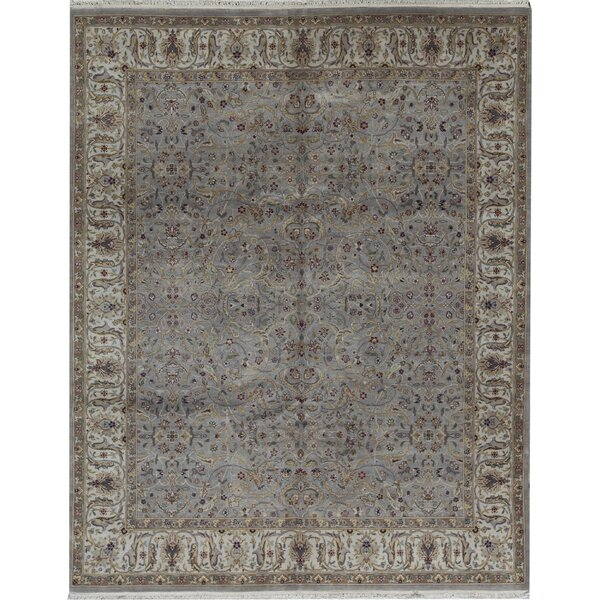 Oriental Hand-Knotted 8.1' x 10.2' Wool Gray/Ivory Area Rug