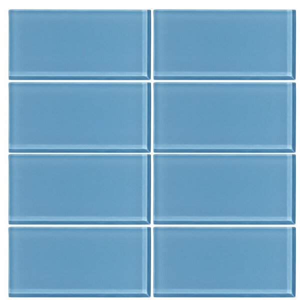 3 x 6 Glass Subway Tile in Sky Blue by Vicci Design