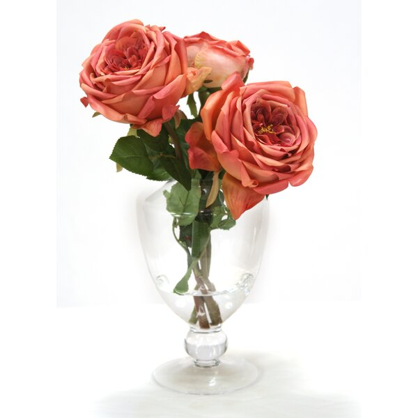 Mauve Roses in Glass Urn with Ball Stem by Distinctive Designs