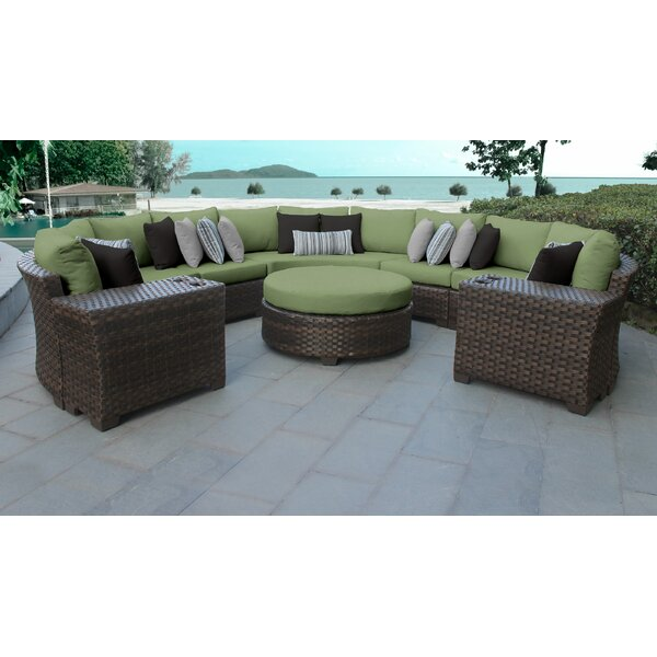 River Brook 8 Piece Rattan Sectional Seating Group with Cushions