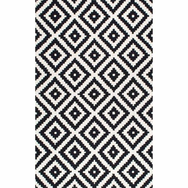 Obadiah Hand-Tufted Wool Black Area Rug by Mercury Row