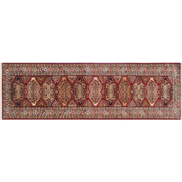 One-of-a-Kind Askov Kazak Hand-Knotted Red Area Rug by Isabelline