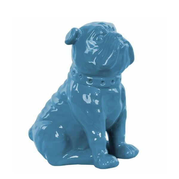Hanks Ceramic Sitting British Bulldog with Collar Figurine by Wrought Studio