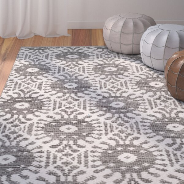 Clemence Hand-Woven Charcoal/Ivory Area Rug by Bungalow Rose