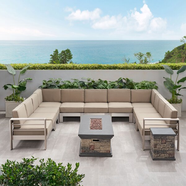 Destinee Outdoor 11 Piece Sectional Seating Group with Cushions by Orren Ellis