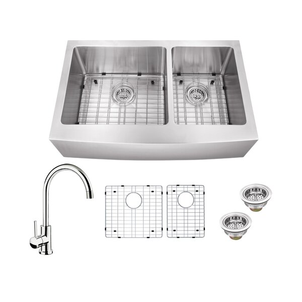 16 Gauge Stainless Steel 35.88 L x 20.75 W Double Basin Farmhouse/Apron 60/40 Kitchen Sink with Gooseneck Faucet by Soleil