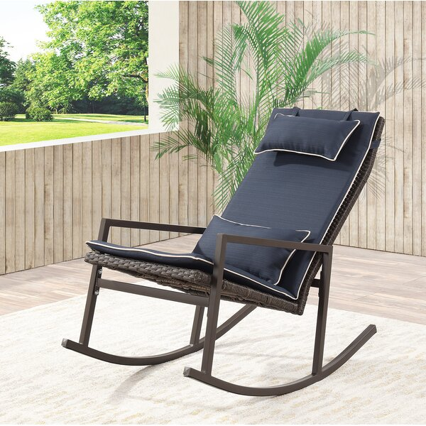Tremberth Outdoor Rocking Chair With Cushion By Longshore Tides by Longshore Tides 2020 Sale