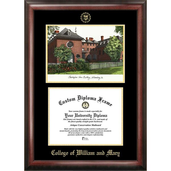 NCAA College of William and Mary Diploma Lithograph Picture Frame by Campus Images