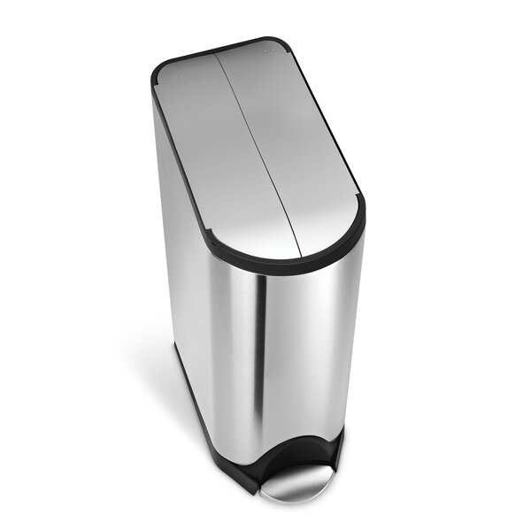 11.9 Gallon Butterfly Step Trash Can, Brushed Stainless Steel by simplehuman