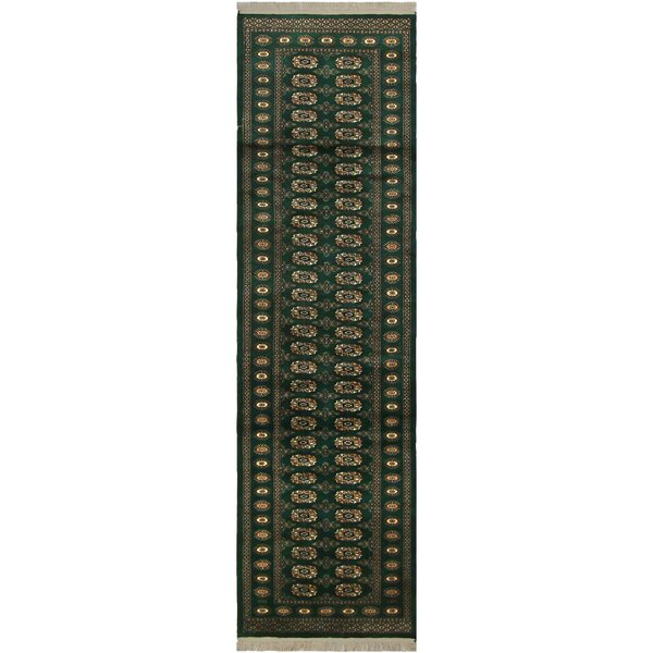 One-of-a-Kind Abril Hand-Knotted Wool Green/Ivory Area Rug by Isabelline