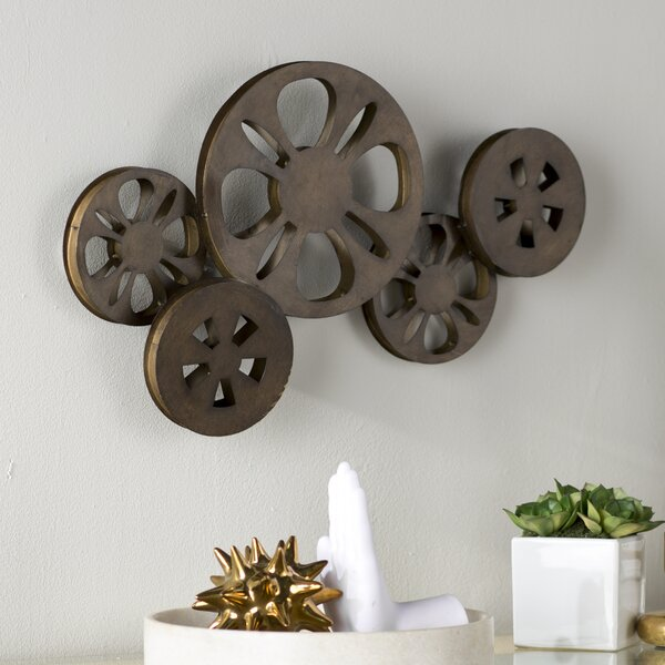 Decorative Bronze Metal Movie Reel Sculpture Wall Decor by Brayden Studio