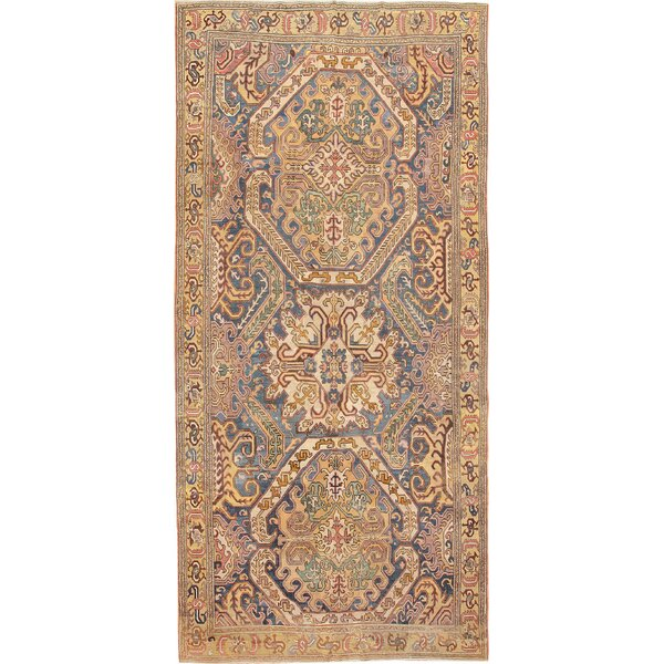 One-of-a-Kind 18th Century Hand-Knotted Before 1900 Karabagh Yellow 9' x 19'6 Runner Wool Area Rug