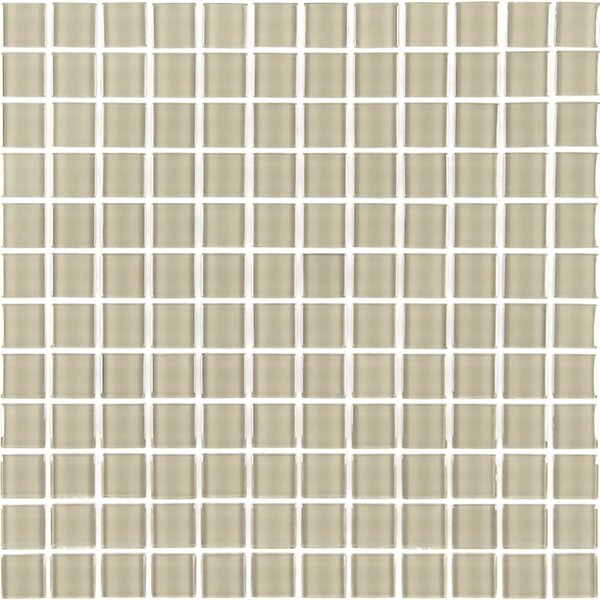 Metro 1 x 1 Glass Mosaic Tile in Crème by Abolos
