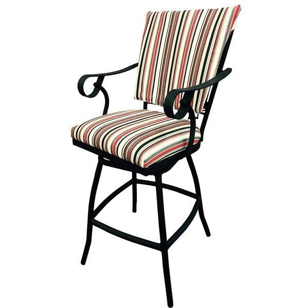 Darin 26-inch Patio Bar Stool with Cushion by Alcott Hill Alcott Hill