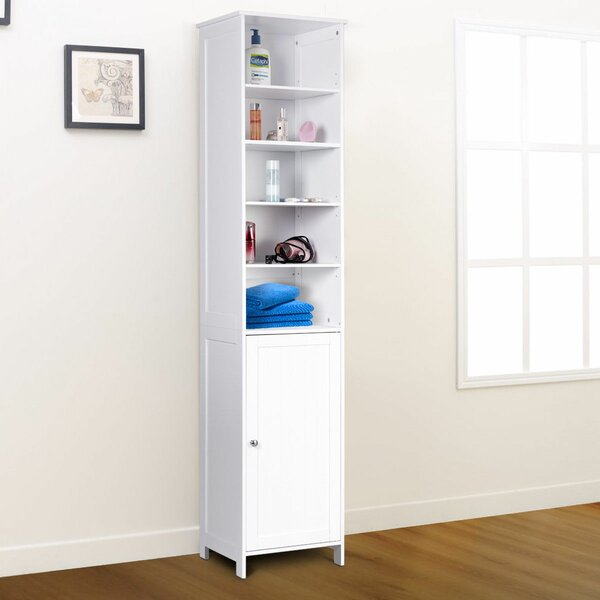 Heide Bathroom Storage Free Standing Shelving 16 W x 72 H Linen Tower by Red Barrel Studio