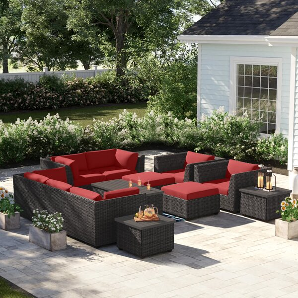 Tegan 12 Piece Multiple Chairs Seating Group with Cushions by Sol 72 Outdoor