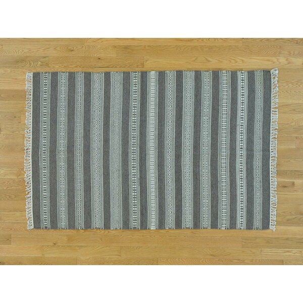 One-of-a-Kind Bessey Striped Handmade Kilim Grey Wool Area Rug by Isabelline