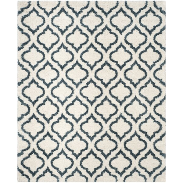 Melvin Shag Beige/Blue Area Rug by Charlton Home