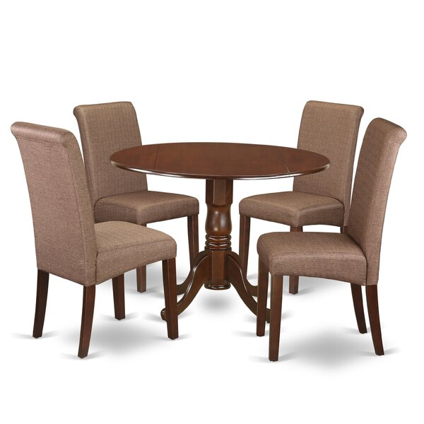 Parise Small Table 5 Piece Drop Leaf Solid Wood Breakfast Nook Dining Set