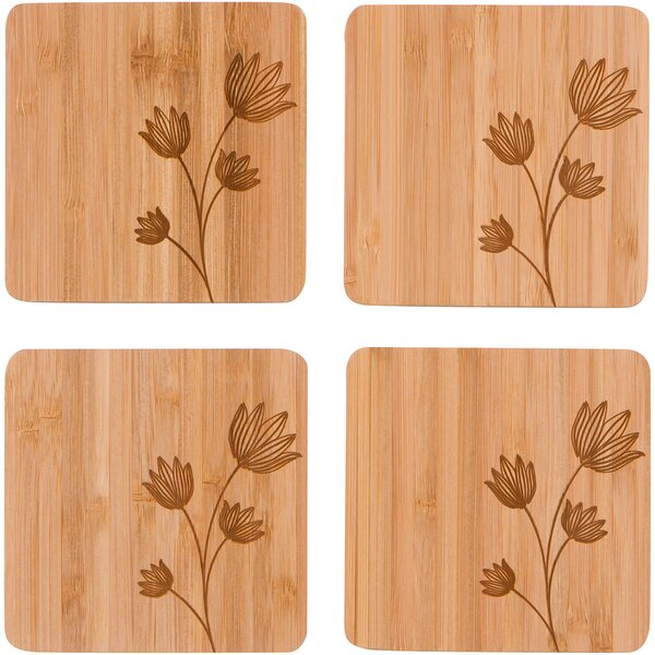 Square Bamboo Flower Design Coaster (Set of 4) by Red Barrel Studio