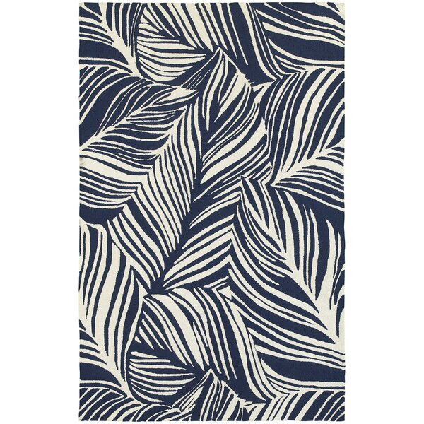 Atrium Tropical Leaf Hand-Woven Blue/Ivory Indoor/Outdoor Area Rug by Tommy Bahama Home