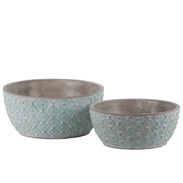 Desloge Embossed Concentric 2-Piece Cement Pot Planter Set by Bungalow Rose