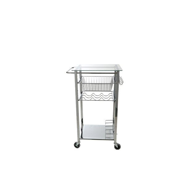 Glass Top Mobile Kitchen Cart by Mind Reader