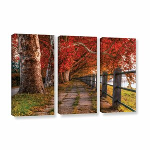 Walk By The River 3 Piece Photographic Print on Wrapped Canvas Set by Red Barrel Studio