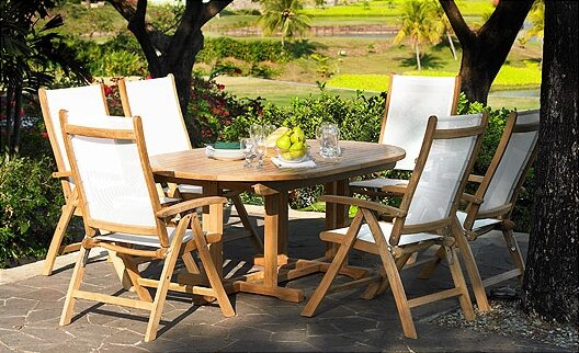 Riviera 7 Piece Teak Dining Set by Three Birds Casual