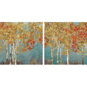 'First Moment' 2 Piece Painting Print on Wrapped Canvas Set by Three Posts