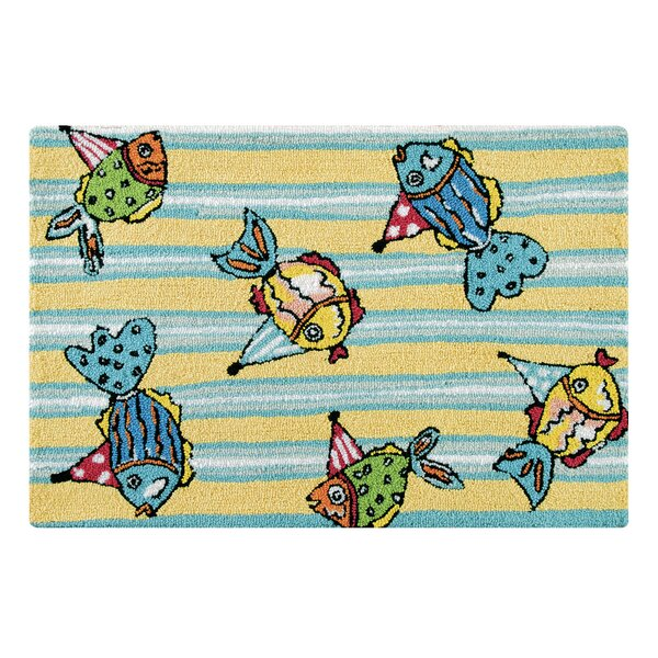 Pam Party Fishes Coastal Blue Area Rug by Highland Dunes