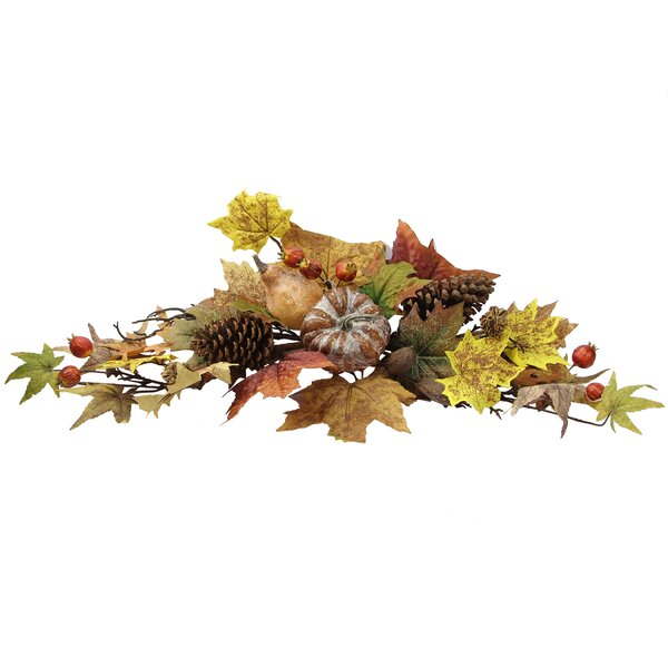 Artifical Lotus Pod/Pumpkins/Pine Cone/ Maple Leaves/Berries Fall Festive Harvest Display Swag by Admired by Nature
