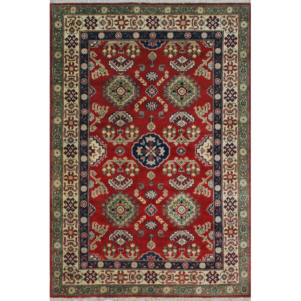 One-of-a-Kind Aquino Hand-Knotted Red Area Rug by Isabelline