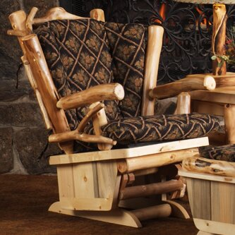 Aspen Heirloom Twig Art Glider by Mountain Woods Furniture