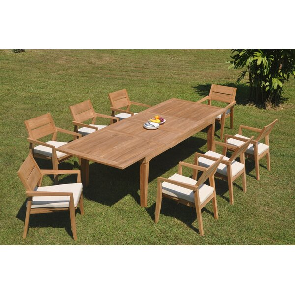 Grady 9 Piece Teak Dining Set by Rosecliff Heights