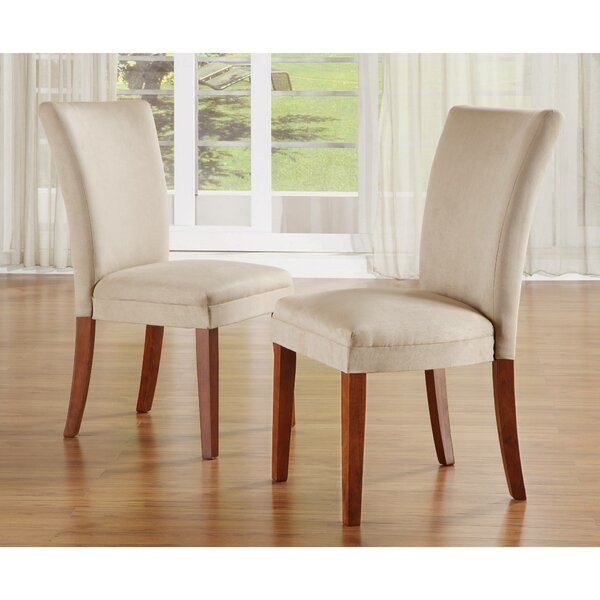 Asdvadzadur Cotton Upholstered Parsons Chair in Beige (Set of 2) by Red Barrel Studio Red Barrel Studio