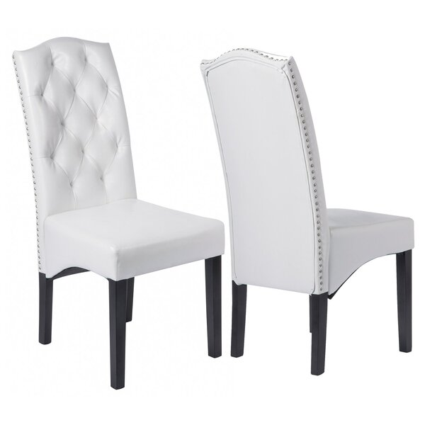 Cassis Tufted Upholstered Parsons Chair in White (Set of 2) by Red Barrel Studio Red Barrel Studio