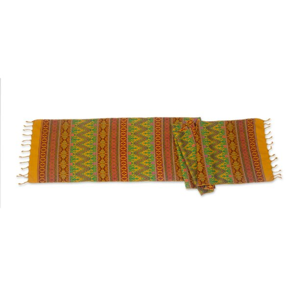 Maya Mustard Hand-Woven Table Runner by Novica