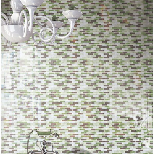 1 x 2 Glass Tile in Green/Brown by Multile