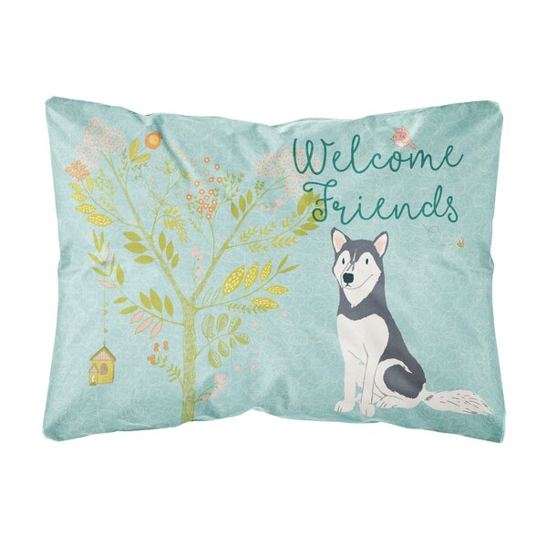 Marcus Welcome Friends Siberian Husky Indoor/Outdoor Throw Pillow by Winston Porter