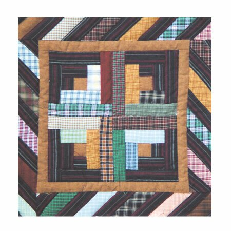 Dusty Diamond Log Cabin Cotton Throw Pillow by Patch Magic
