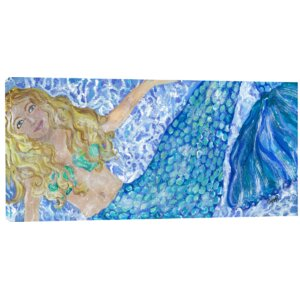 Merry Mermaid Painting Print on Wrapped Canvas by My Island