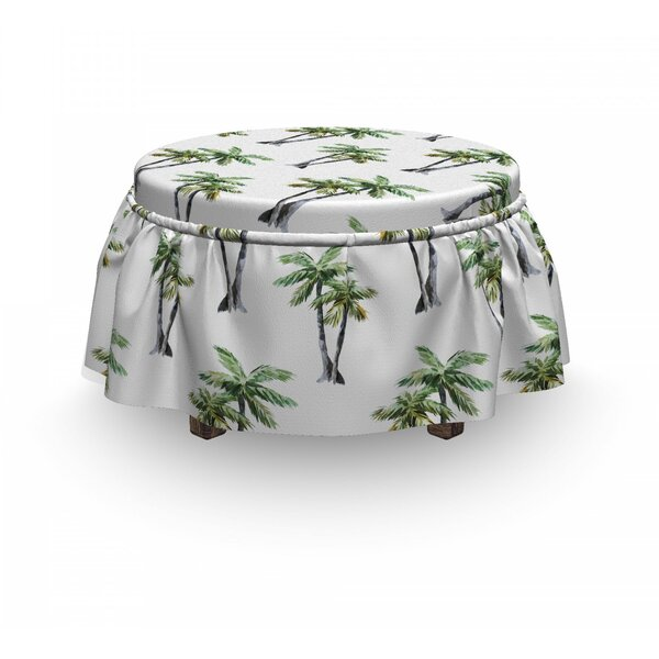 Palm Tree Trees Art 2 Piece Box Cushion Ottoman Slipcover Set By East Urban Home