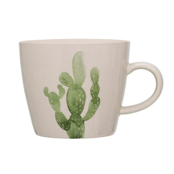 French Ceramic Jade Cactus Mug (Set of 6) by Bungalow Rose