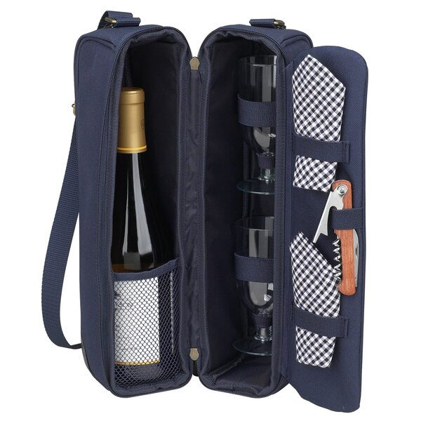 Classic Sunset Depinot Wine Carrier for Two in Navy by Picnic at Ascot