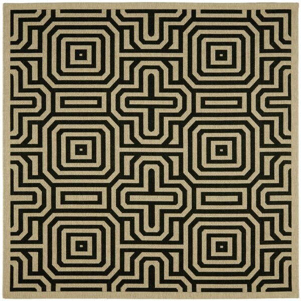Jefferson Place Sand & Black Outdoor Area Rug by Wrought Studio