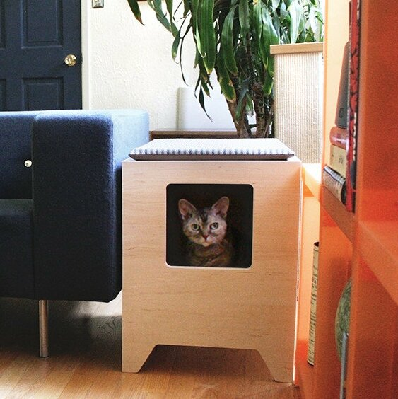 Modern Litter Box Enclosure by Curio Craft